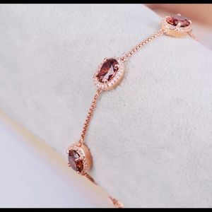💕 HB Rose Gold Blood Red Oval Crystal Bracelet 💕